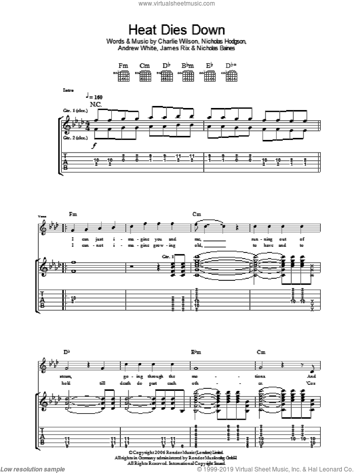Heat Dies Down sheet music for guitar (tablature) by Andrew White, Charlie Wilson and Nicholas Hodgson. Score Image Preview.