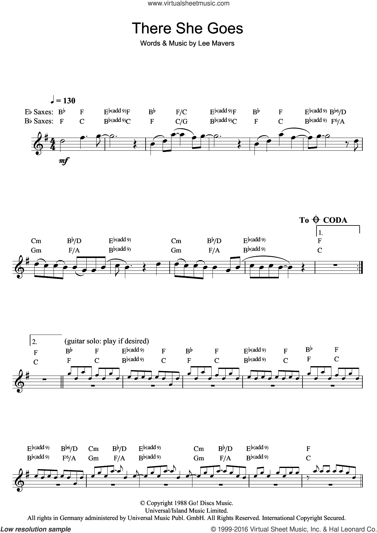 There She Goes sheet music for saxophone solo by The La's and Lee Mavers, intermediate. Score Image Preview.