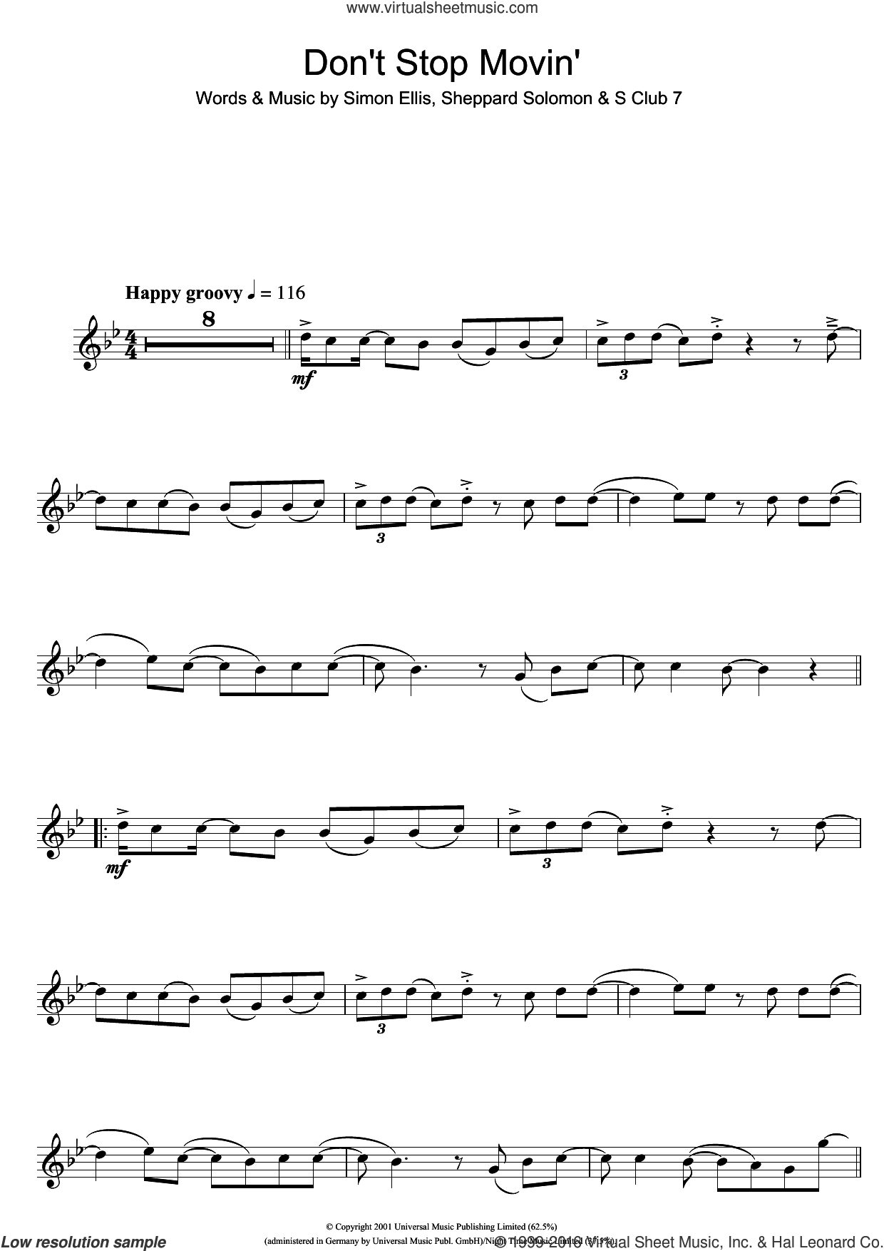 Don't Stop Movin' sheet music for flute solo by Simon Ellis, S Club 7 and Sheppard Solomon. Score Image Preview.