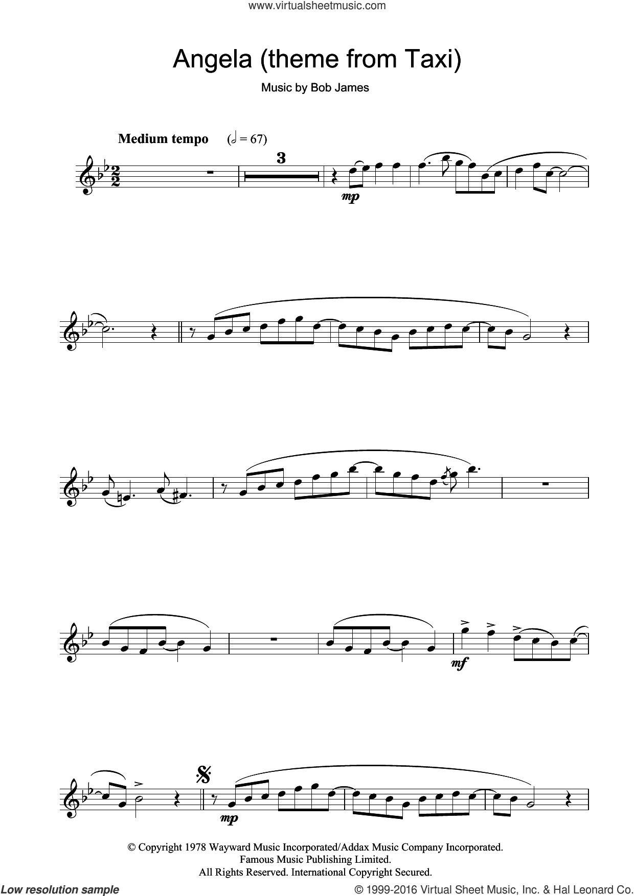 Angela (theme from Taxi) sheet music for clarinet solo by Bob James. Score Image Preview.