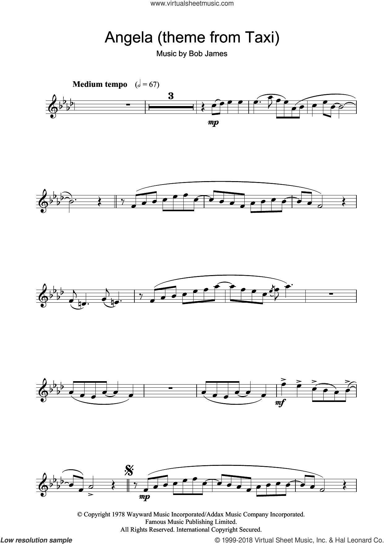 Angela (theme from Taxi) sheet music for flute solo by Bob James, intermediate