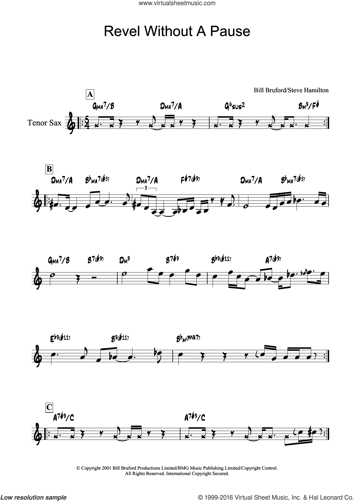 Revel Without A Pause sheet music for tenor saxophone solo by Bill Bruford and Steve Hamilton, intermediate skill level