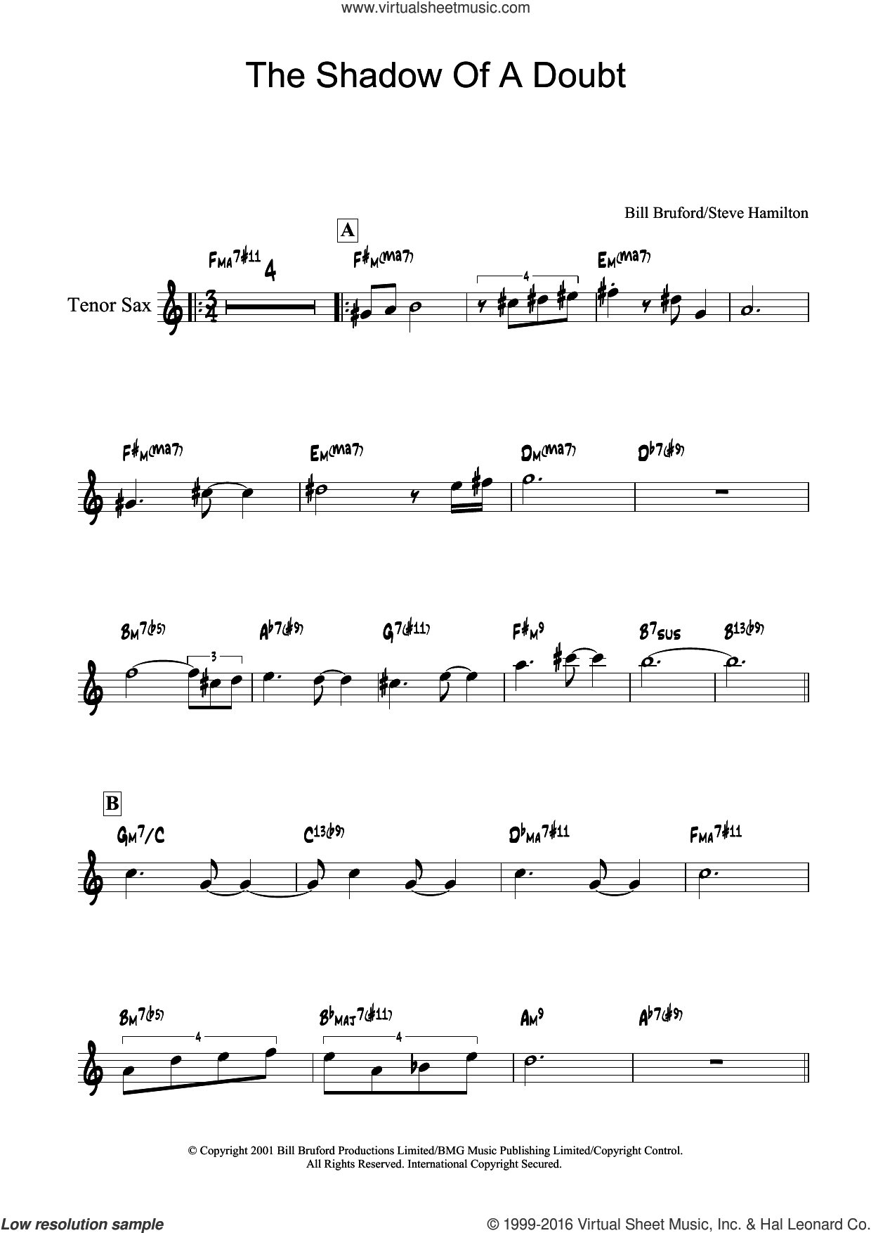 The Shadow Of A Doubt sheet music for tenor saxophone solo by Bill Bruford and Steve Hamilton, intermediate. Score Image Preview.