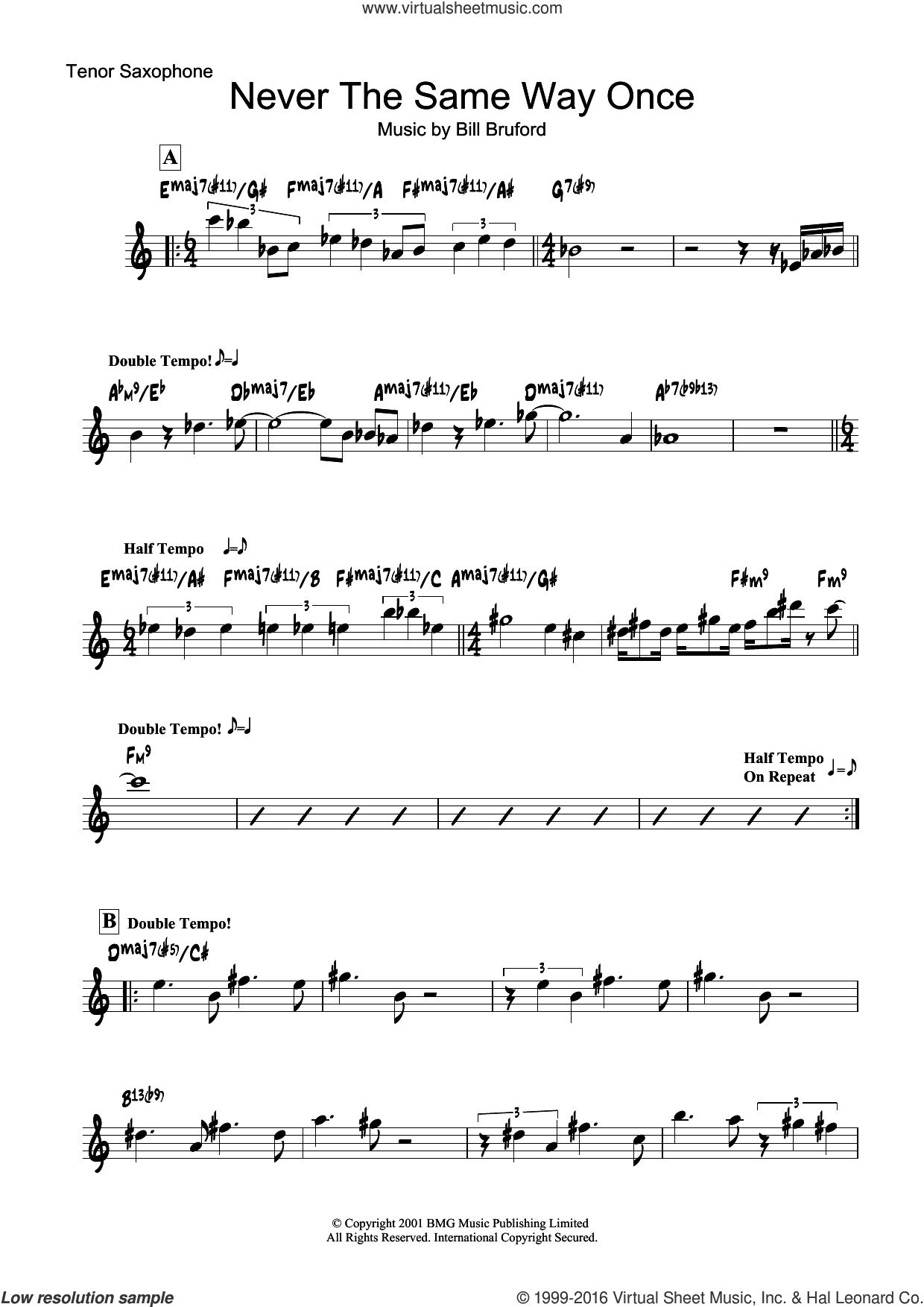 Never The Same Way Once sheet music for tenor saxophone solo by Bill Bruford. Score Image Preview.