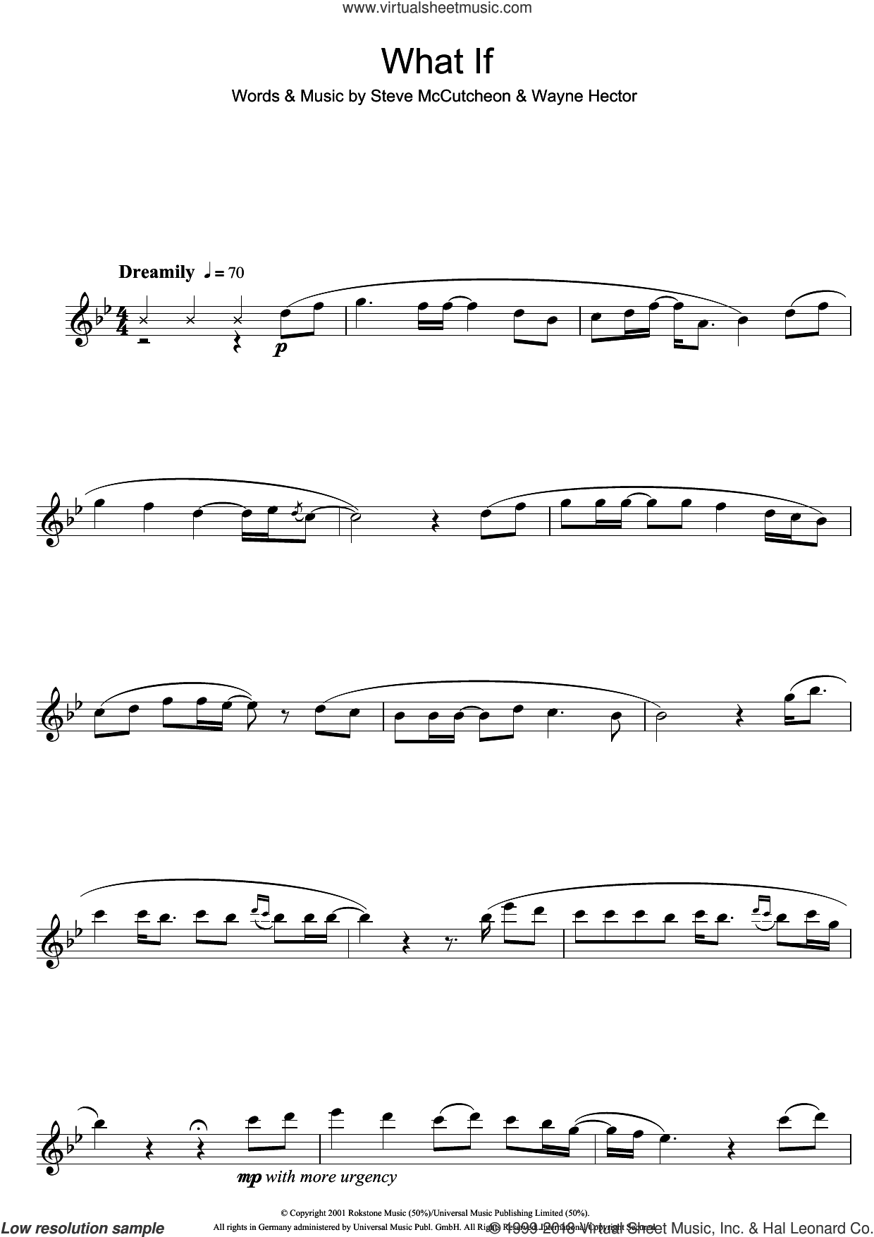 What If sheet music for flute solo by Wayne Hector