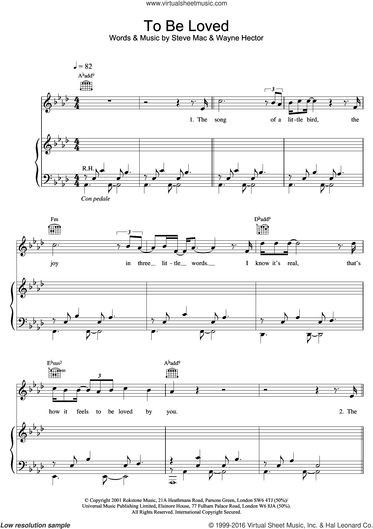 To Be Loved sheet music for violin solo by Wayne Hector, Westlife and Steve Mac. Score Image Preview.