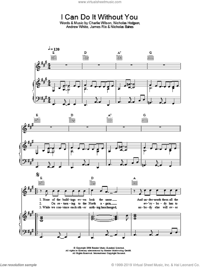 I Can Do It Without You sheet music for voice, piano or guitar by Kaiser Chiefs and Charlie Wilson, intermediate. Score Image Preview.
