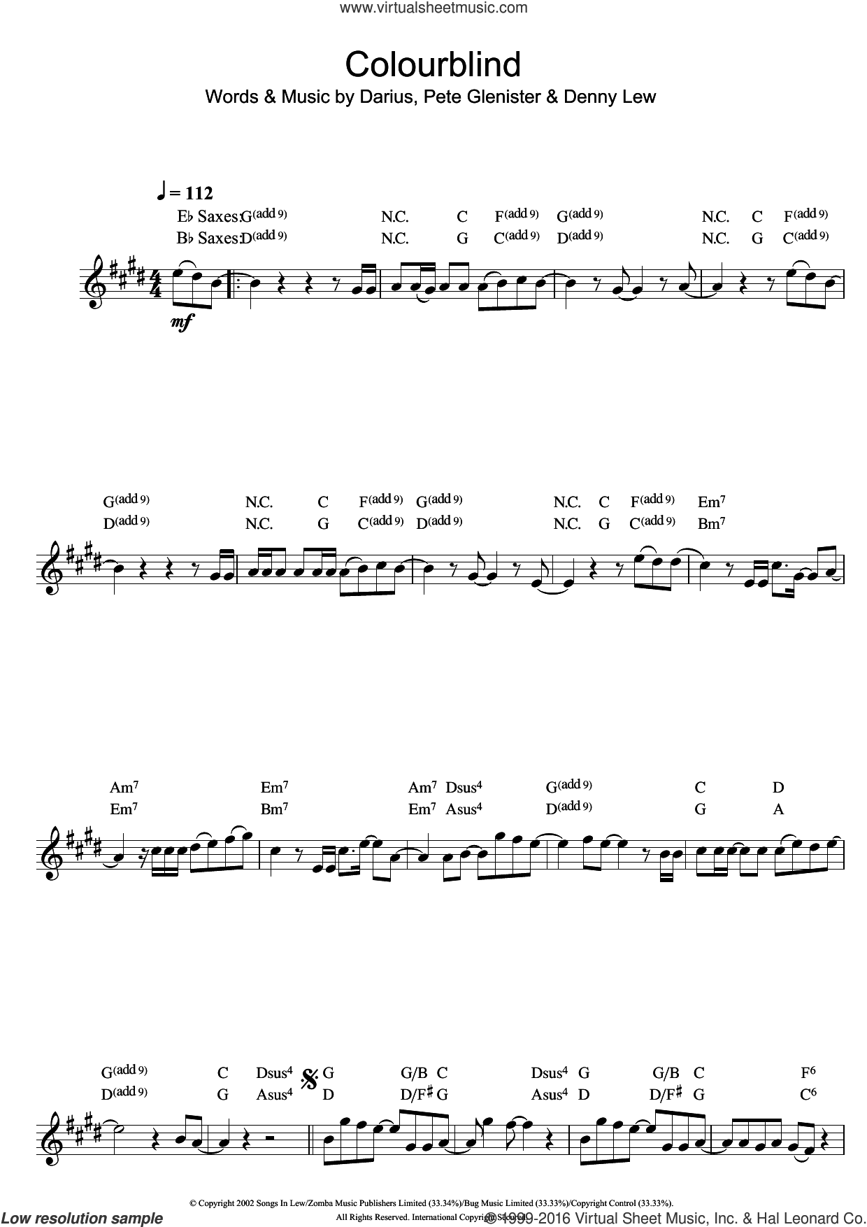 Colourblind sheet music for saxophone solo by Darius. Score Image Preview.