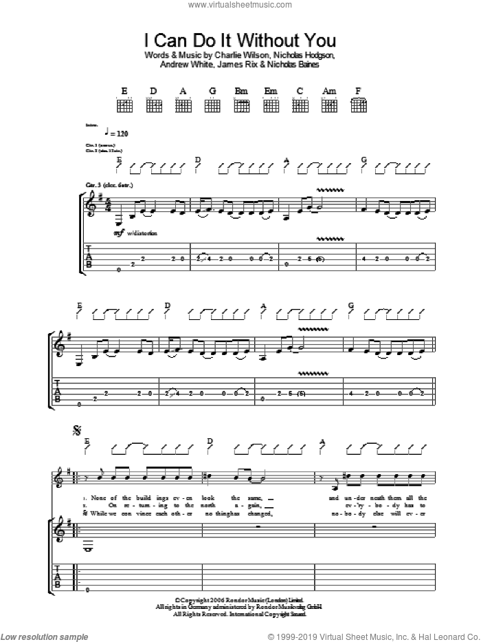 I Can Do It Without You sheet music for guitar (tablature) by Andrew White, Charlie Wilson and Nicholas Hodgson. Score Image Preview.