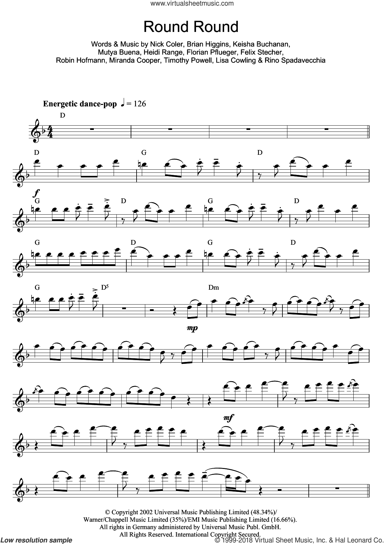 Round Round sheet music for flute solo by Sugababes and Mutya Buena, intermediate. Score Image Preview.