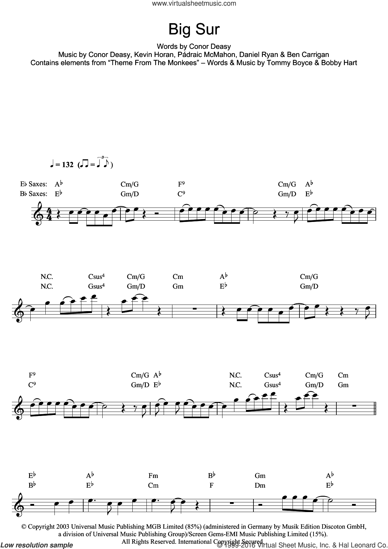 Big Sur sheet music for saxophone solo by The Thrills, intermediate. Score Image Preview.