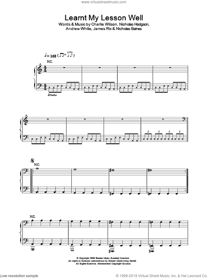 Learnt My Lesson Well sheet music for voice, piano or guitar by Andrew White, Charlie Wilson and Nicholas Hodgson. Score Image Preview.