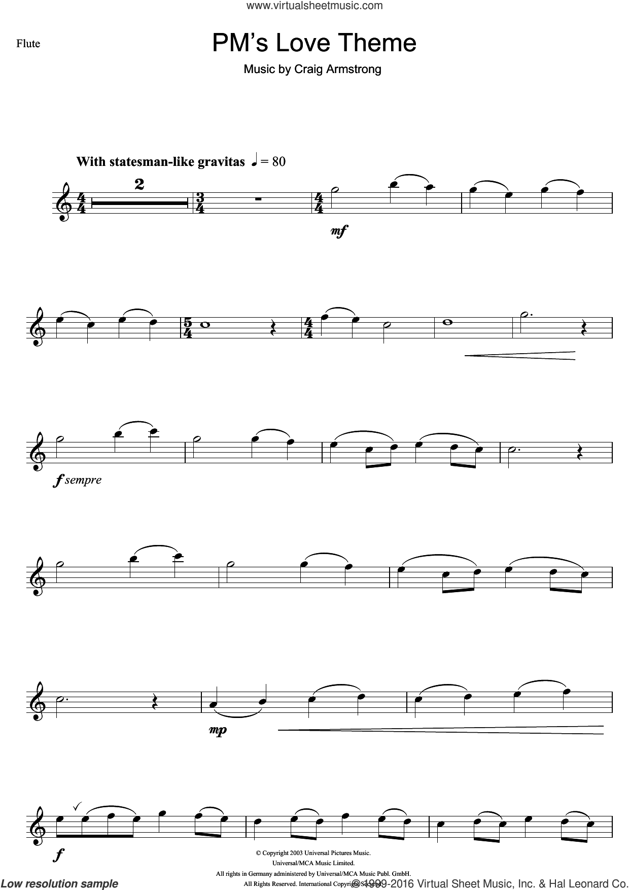 P.M.'s Love Theme (from Love Actually) sheet music for flute solo by Craig Armstrong. Score Image Preview.
