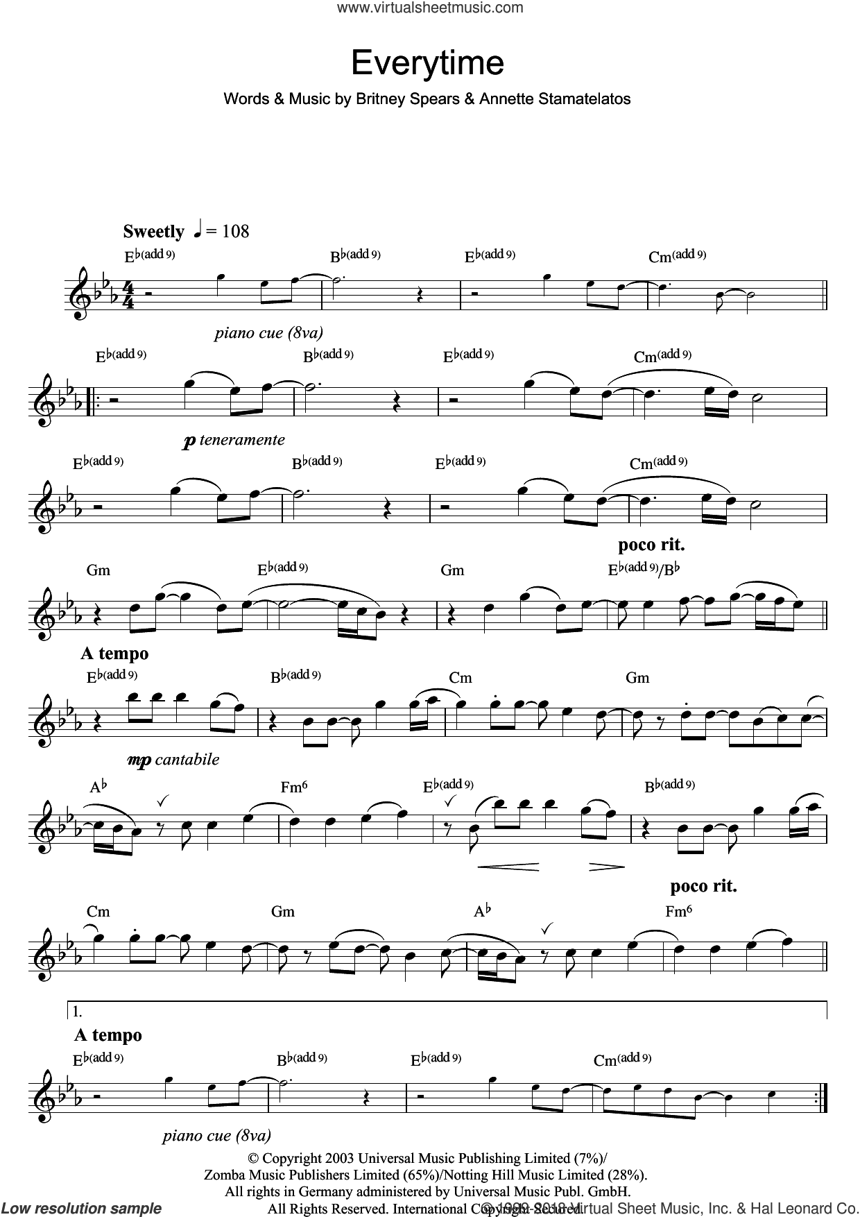 Everytime sheet music for flute solo by Britney Spears. Score Image Preview.