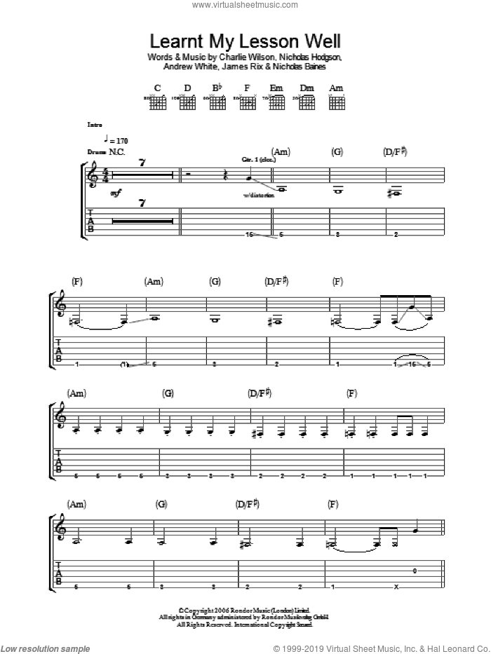 Learnt My Lesson Well sheet music for guitar (tablature) by Andrew White