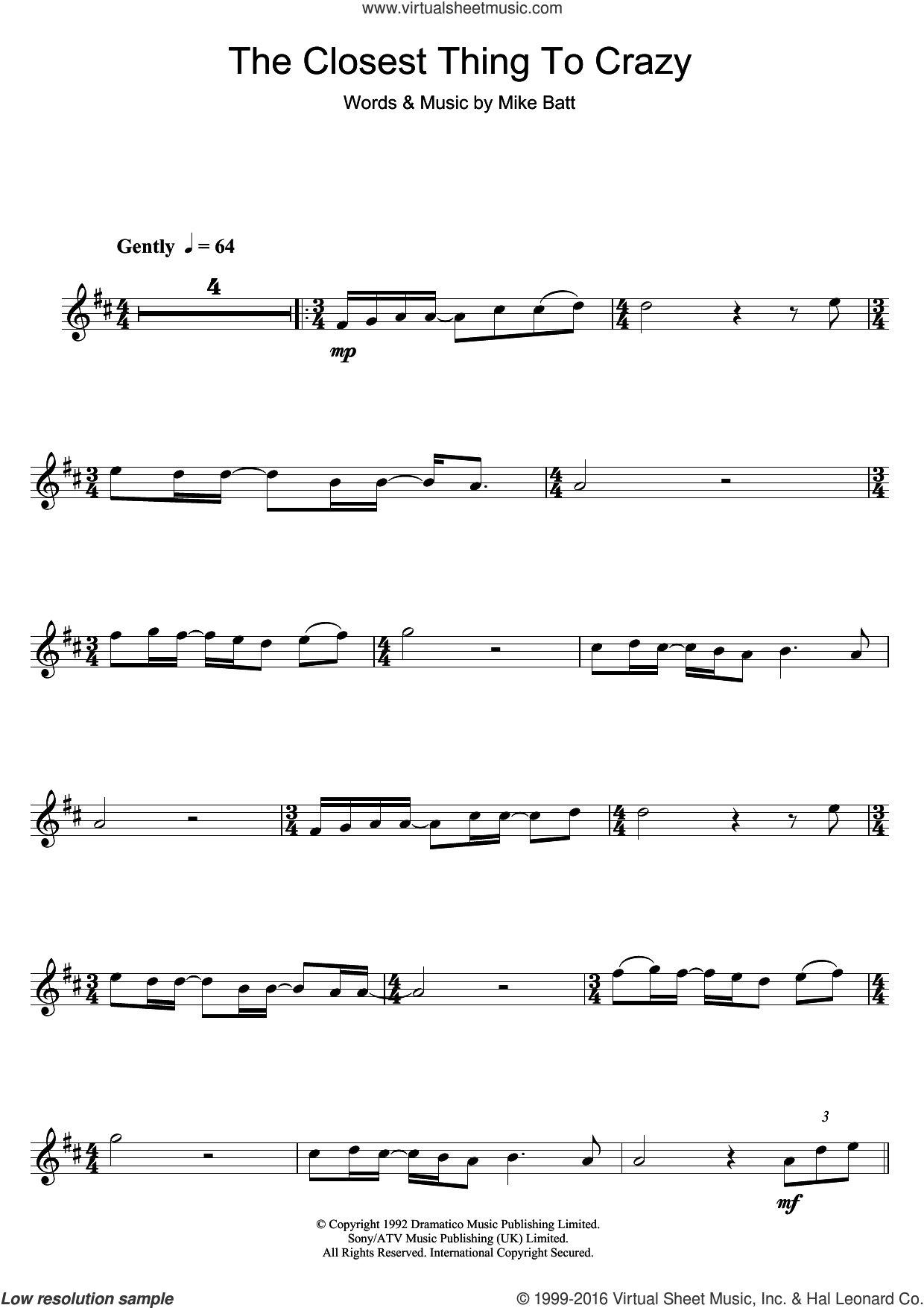 The Closest Thing To Crazy sheet music for clarinet solo by Katie Melua and Mike Batt, intermediate skill level