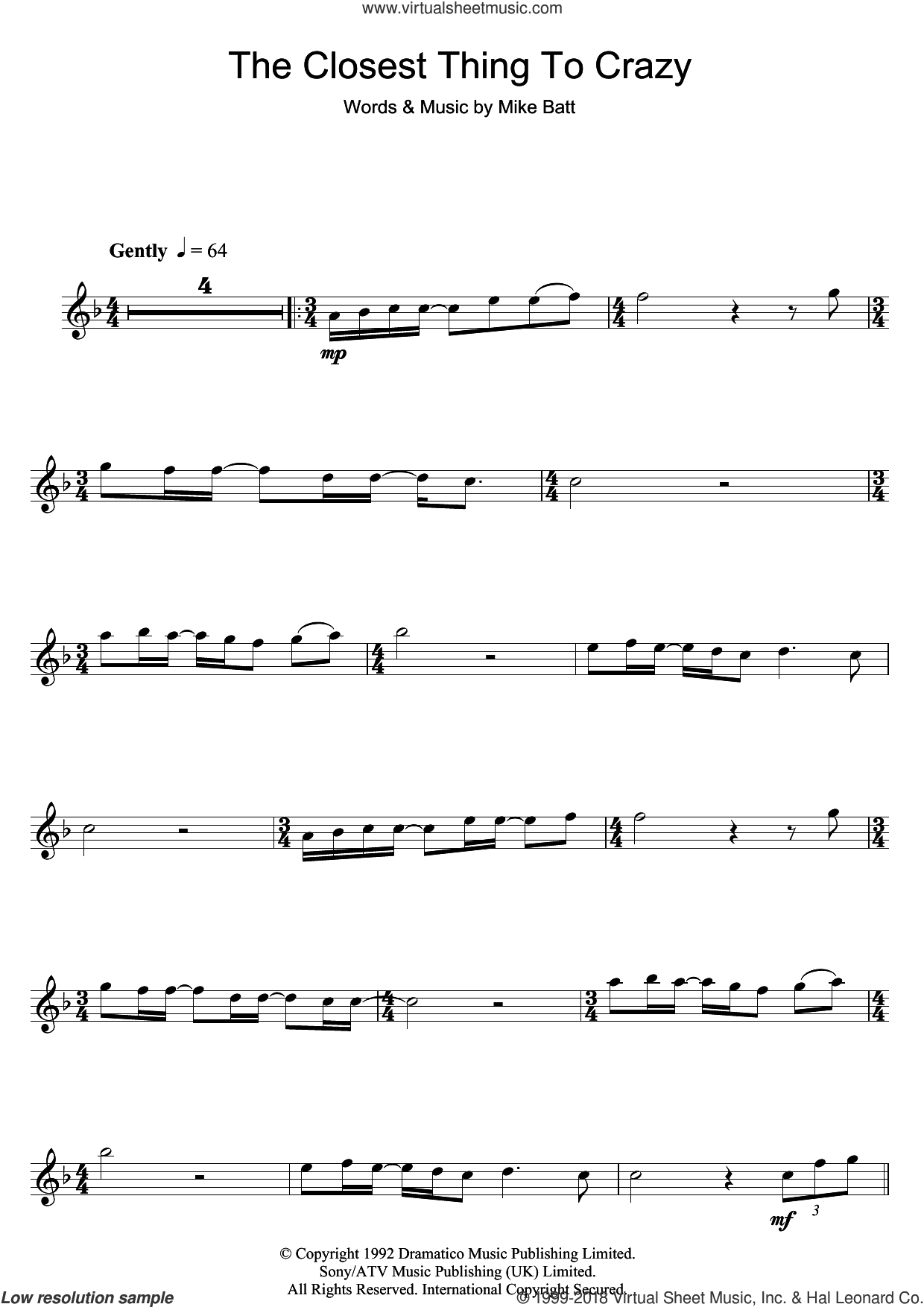 The Closest Thing To Crazy sheet music for flute solo by Katie Melua and Mike Batt. Score Image Preview.