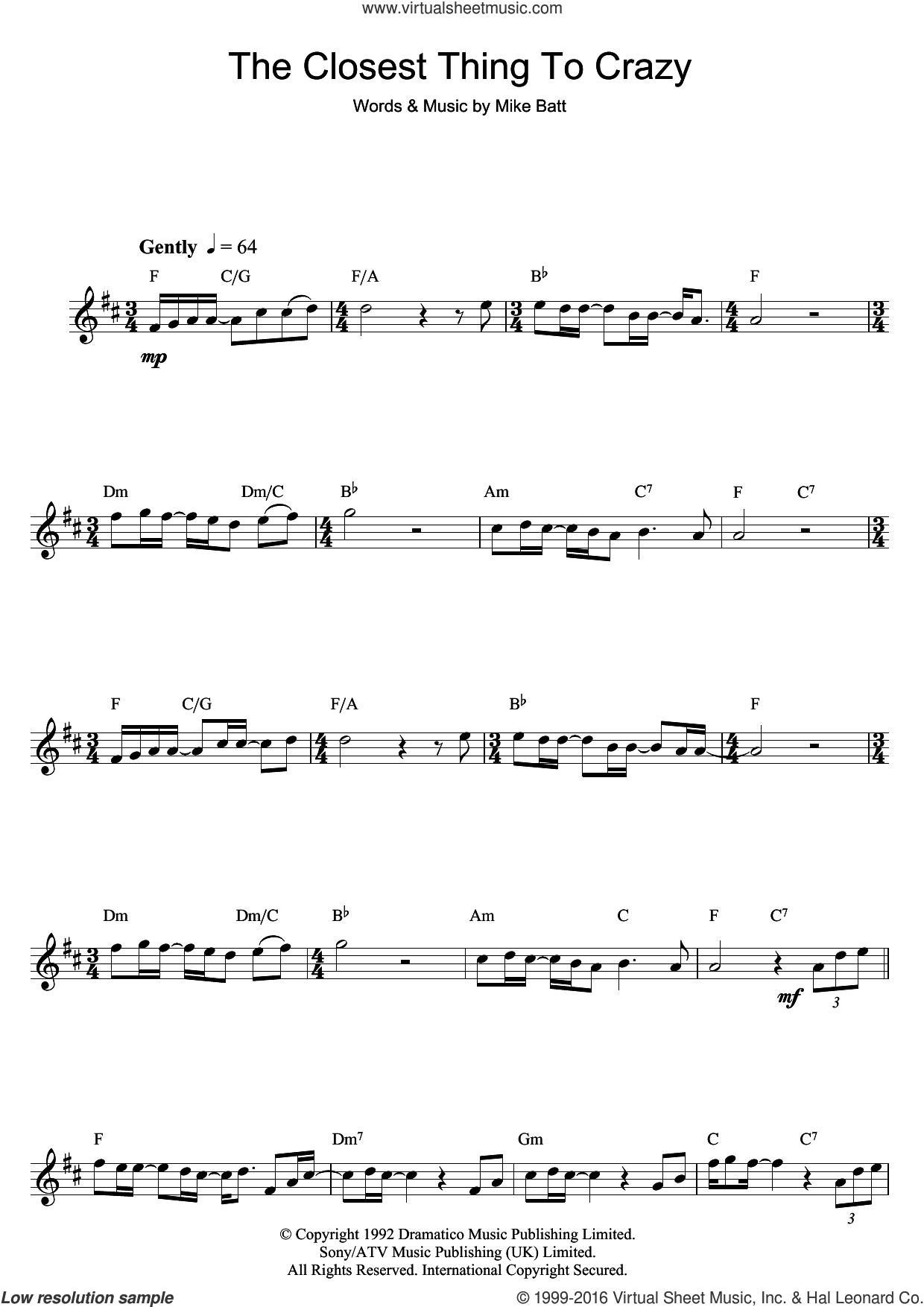 The Closest Thing To Crazy sheet music for saxophone solo by Mike Batt