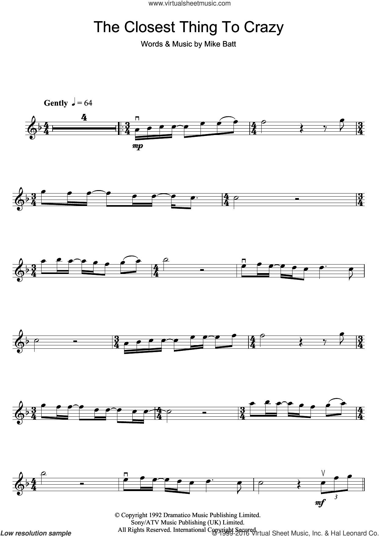 The Closest Thing To Crazy sheet music for violin solo by Katie Melua and Mike Batt, intermediate skill level
