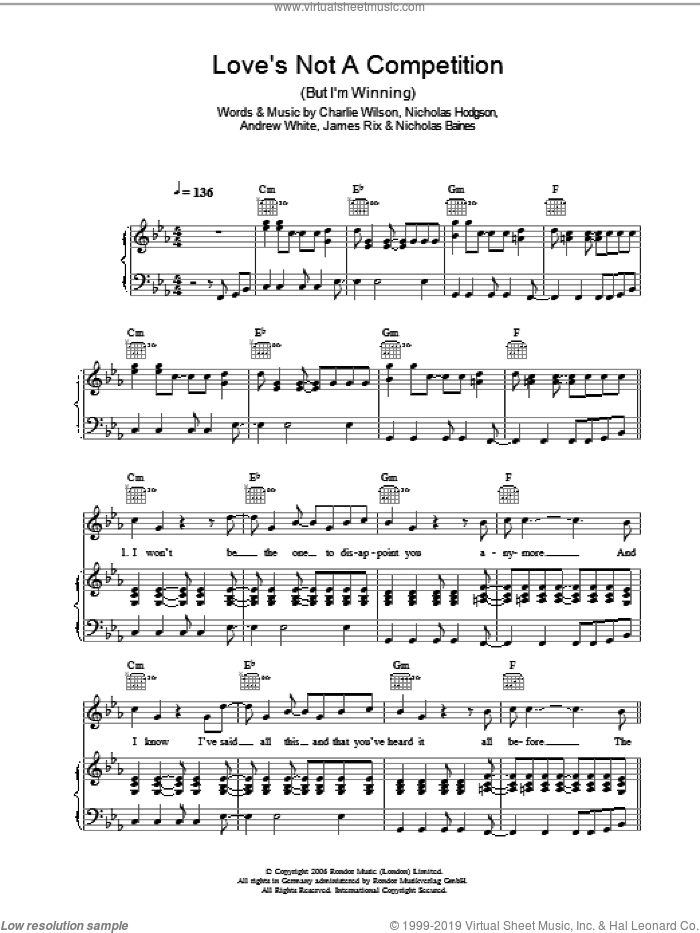 Love's Not A Competition (But I'm Winning) sheet music for voice, piano or guitar by Kaiser Chiefs and Charlie Wilson, intermediate voice, piano or guitar. Score Image Preview.