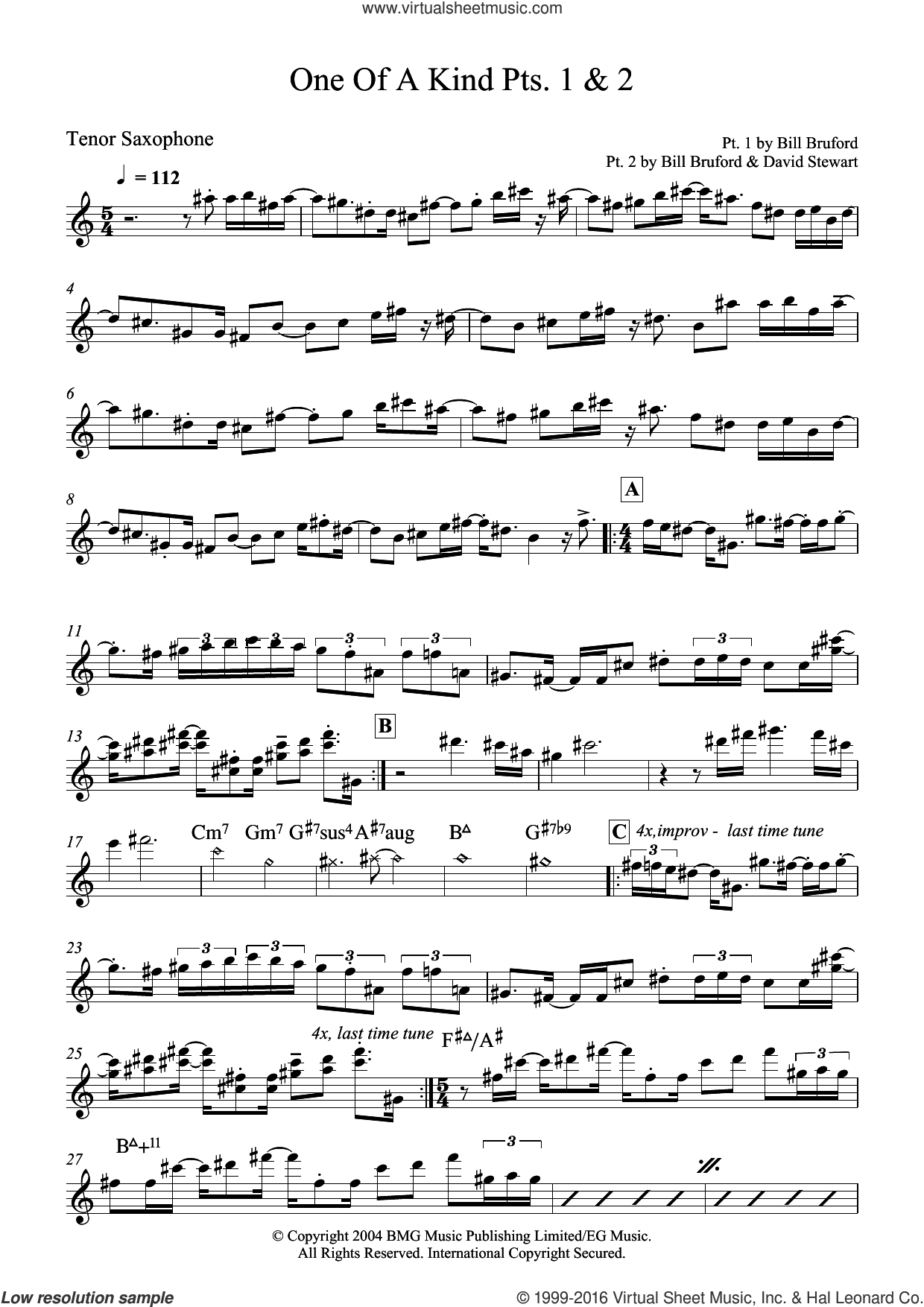 One Of A Kind Pts. 1 and 2 sheet music for tenor saxophone solo by Bill Bruford and Dave Stewart, intermediate skill level