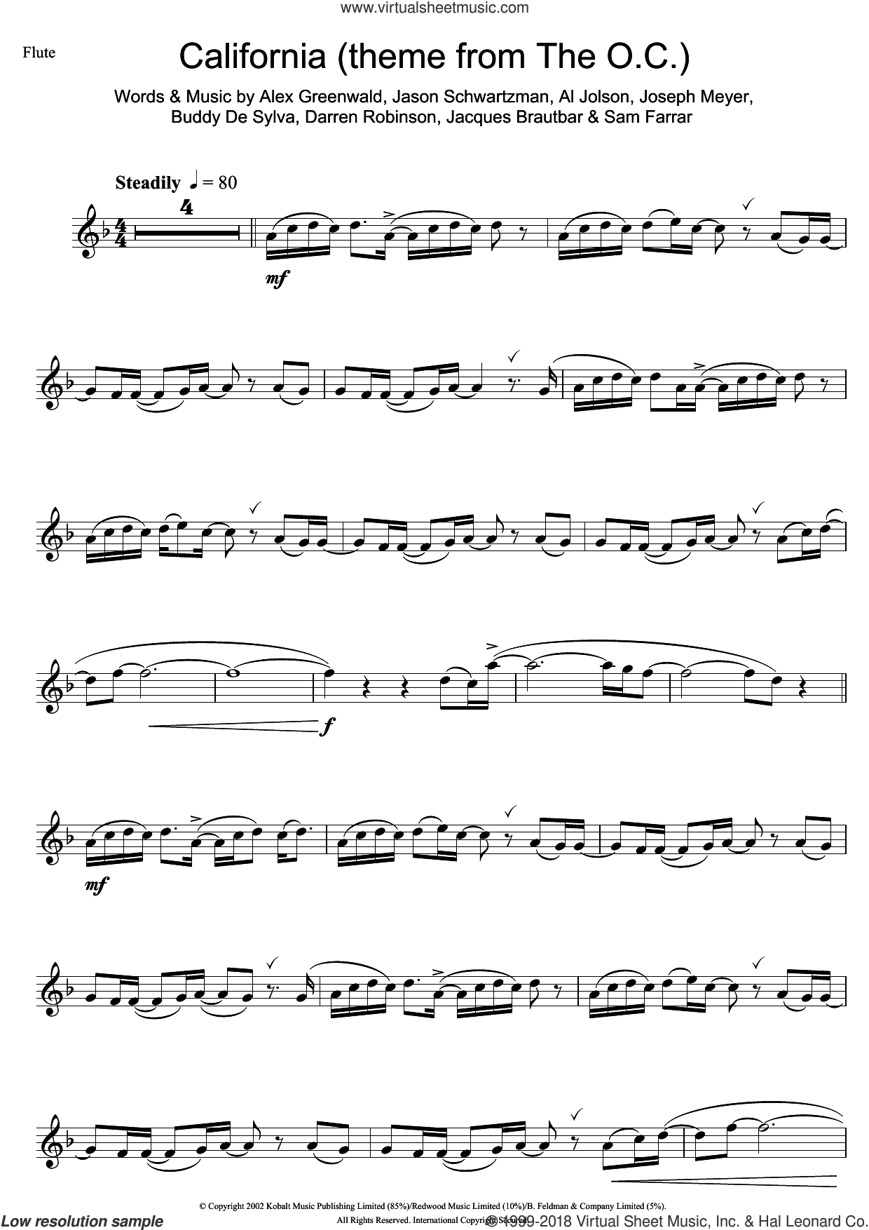 California (theme from The OC) sheet music for flute solo by Phantom Planet, Al Jolson, Alex Greenwald, Buddy DeSylva, Darren Robinson, Jacques Brautbar, Jason Schwartzman, Joseph Meyer and Sam Farrar, intermediate skill level