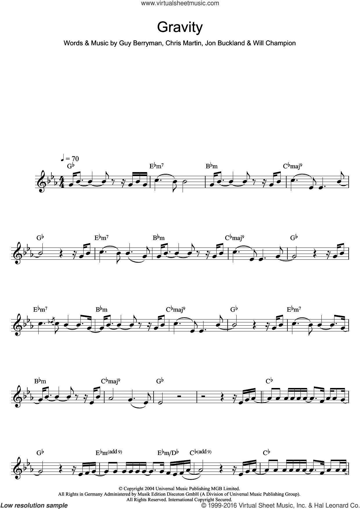 Gravity sheet music for saxophone solo by Will Champion, Coldplay, Embrace, Chris Martin and Guy Berryman. Score Image Preview.
