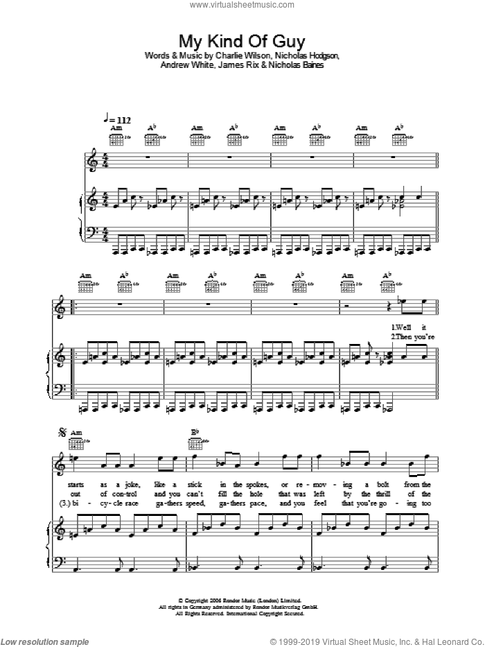 My Kind Of Guy sheet music for voice, piano or guitar by Kaiser Chiefs, Andrew White, Charlie Wilson, James Rix, Nicholas Baines and Nicholas Hodgson, intermediate