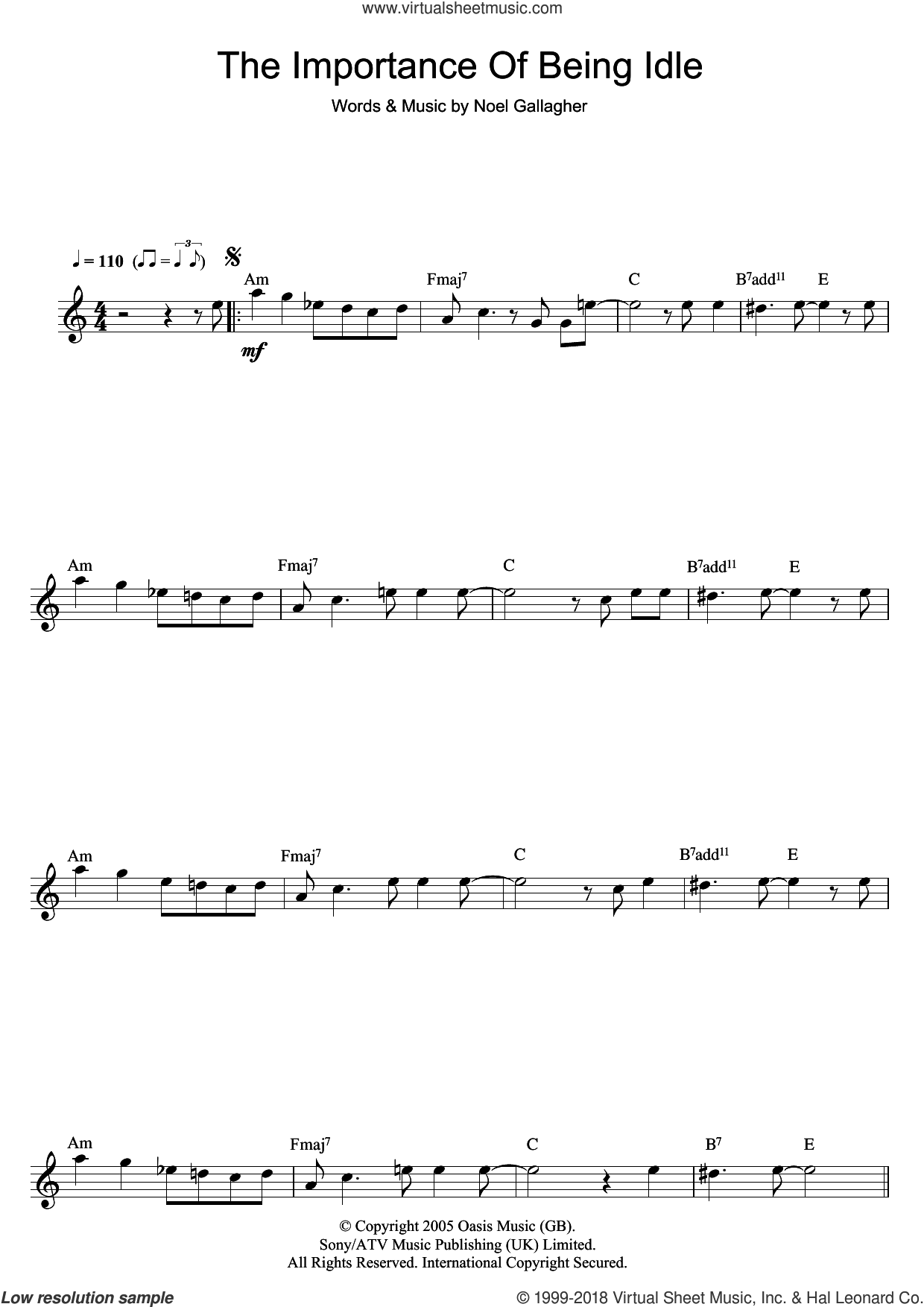 The Importance Of Being Idle sheet music for flute solo by Oasis and Noel Gallagher, intermediate skill level
