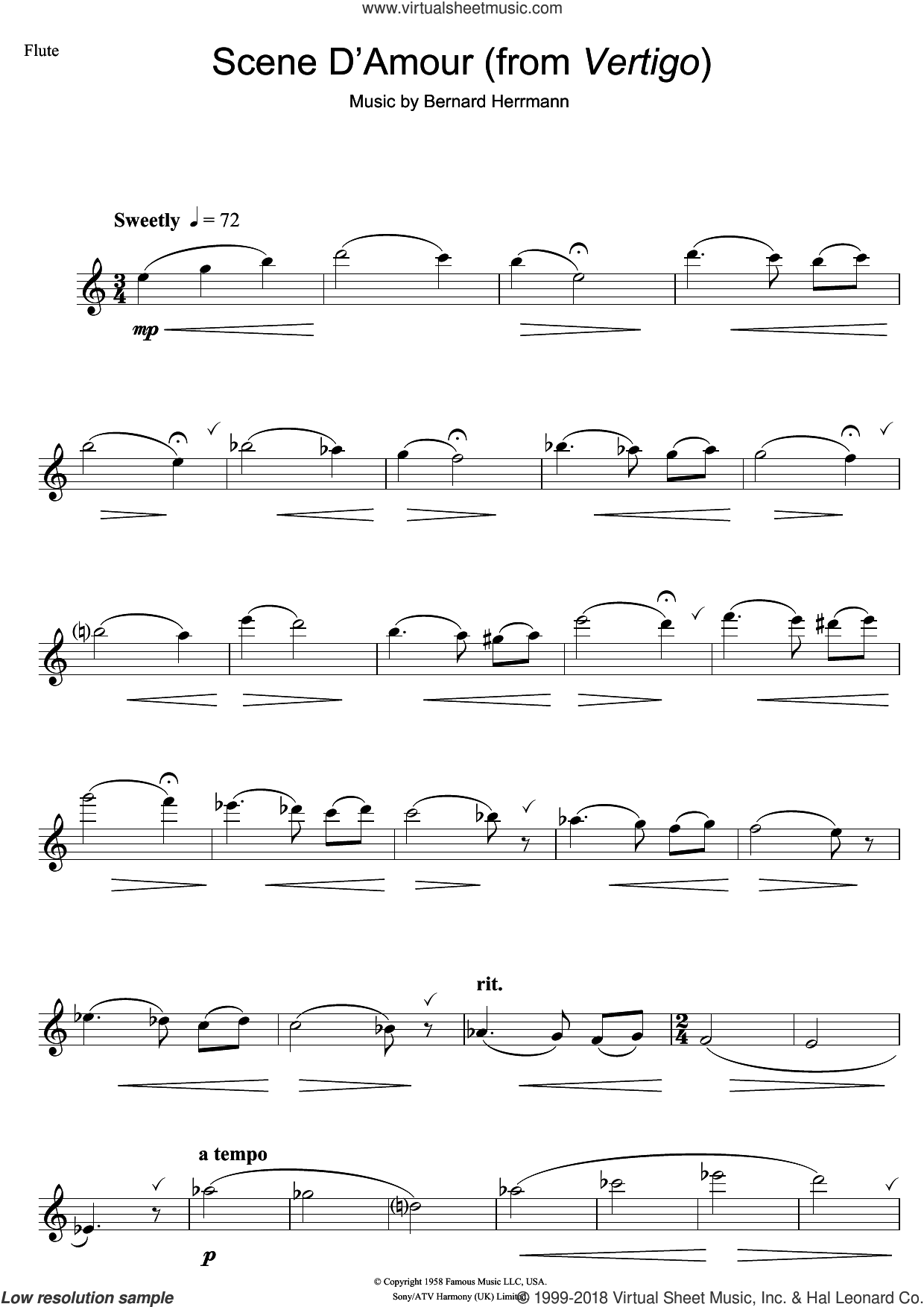 Scene D'Amour (from Vertigo) sheet music for flute solo by Bernard Herrmann, intermediate skill level