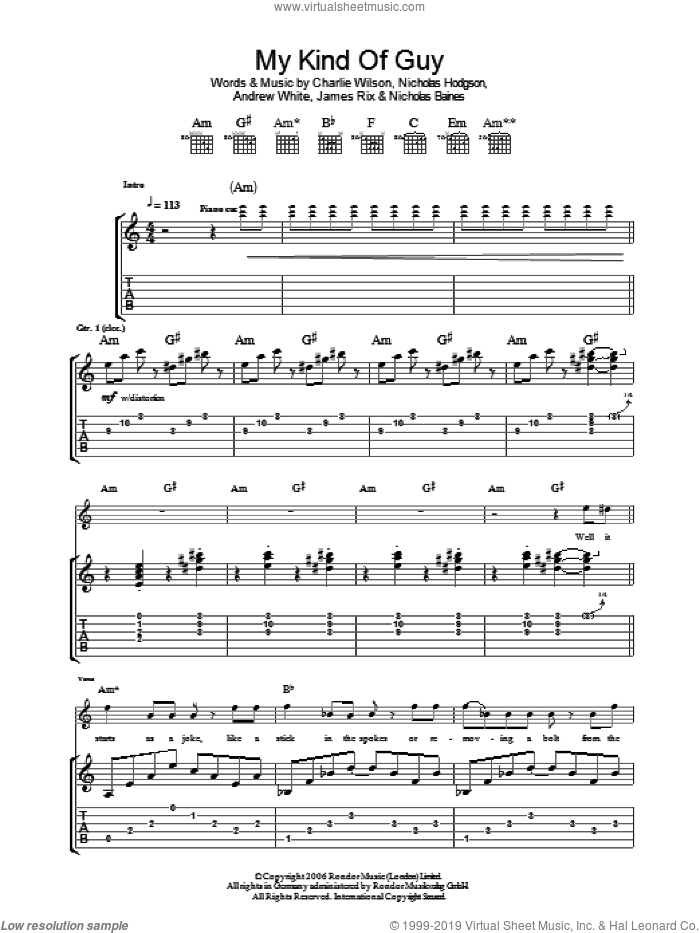 My Kind Of Guy sheet music for guitar (tablature) by Kaiser Chiefs, Andrew White, Charlie Wilson, James Rix, Nicholas Baines and Nicholas Hodgson, intermediate skill level