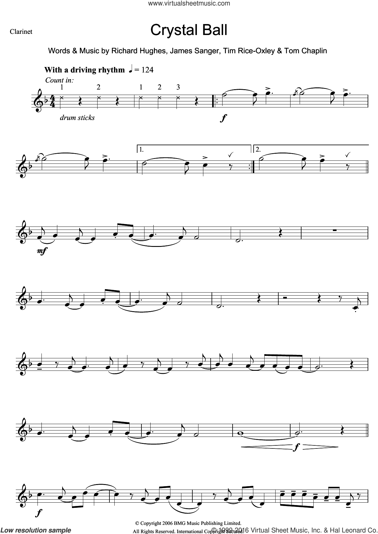 Crystal Ball sheet music for clarinet solo by Tim Rice-Oxley, James Sanger, Richard Hughes and Tom Chaplin, intermediate skill level