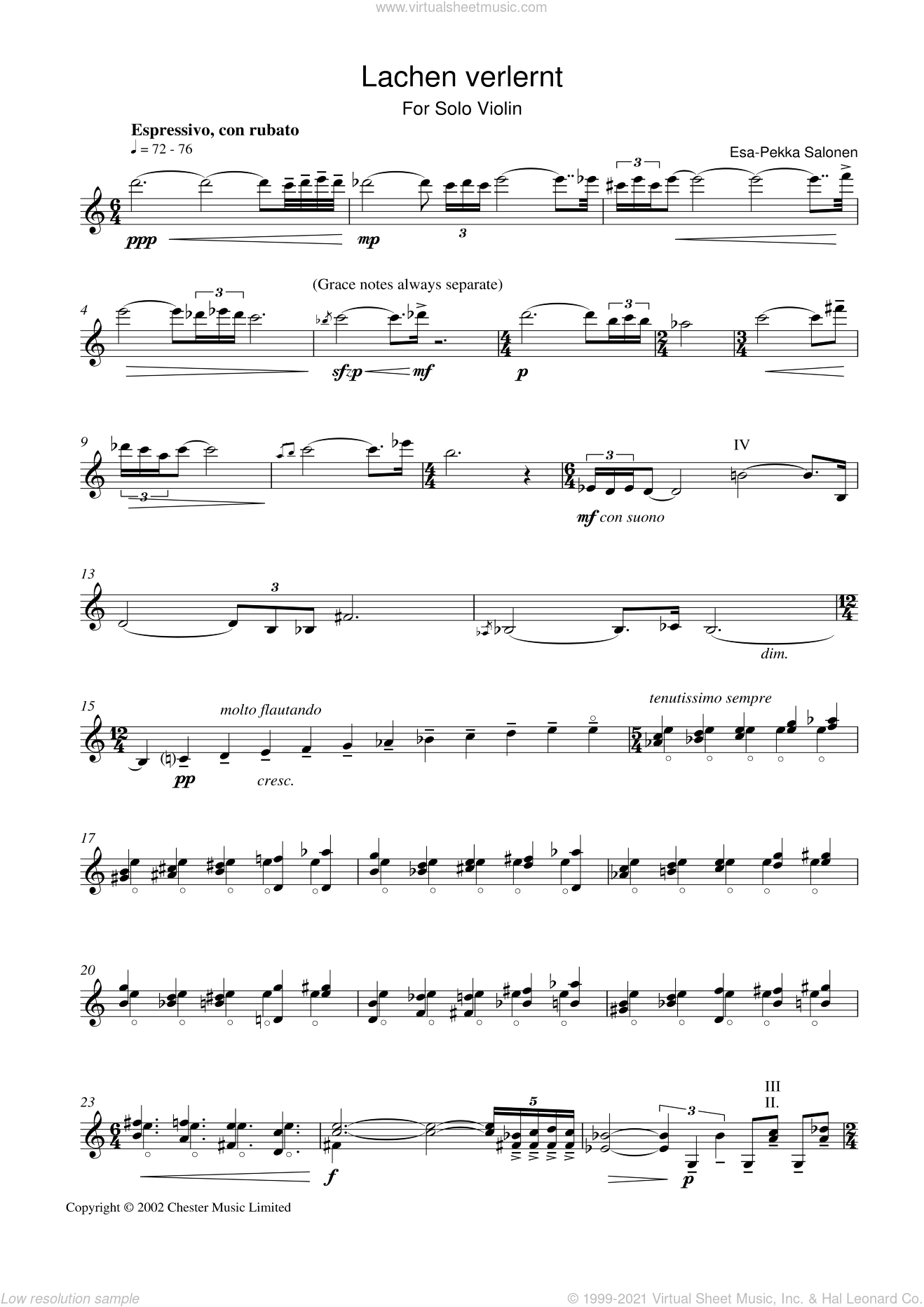 Lachen Verlernt sheet music for violin solo by Esa-Pekka Salonen. Score Image Preview.