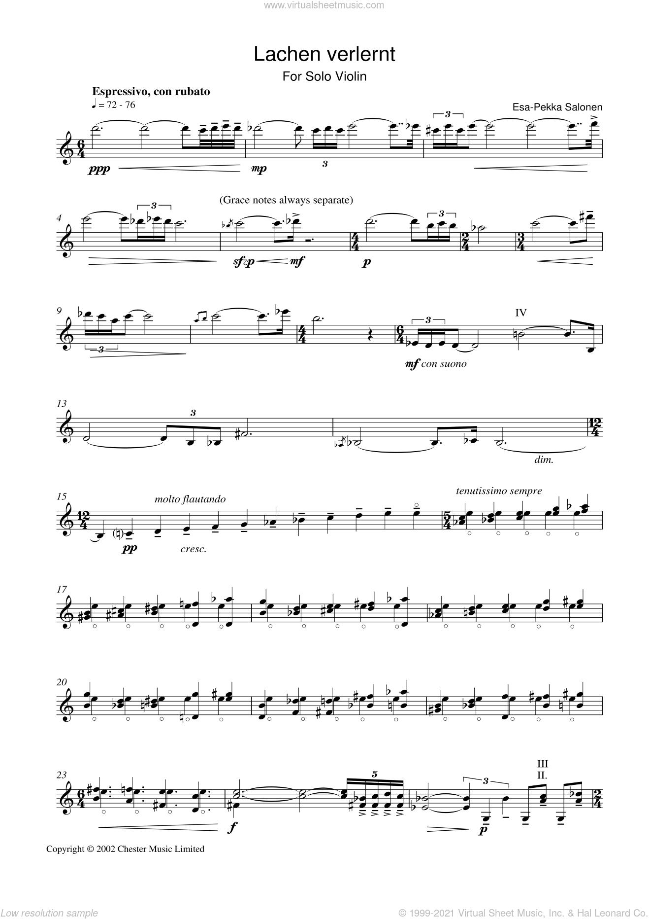 Lachen Verlernt sheet music for violin solo by Esa-Pekka Salonen, classical score, intermediate skill level