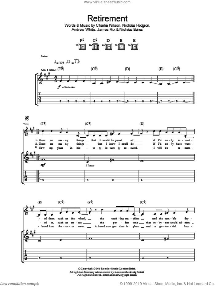 Retirement sheet music for guitar (tablature) by Kaiser Chiefs, Andrew White, Charlie Wilson, James Rix, Nicholas Baines and Nicholas Hodgson, intermediate