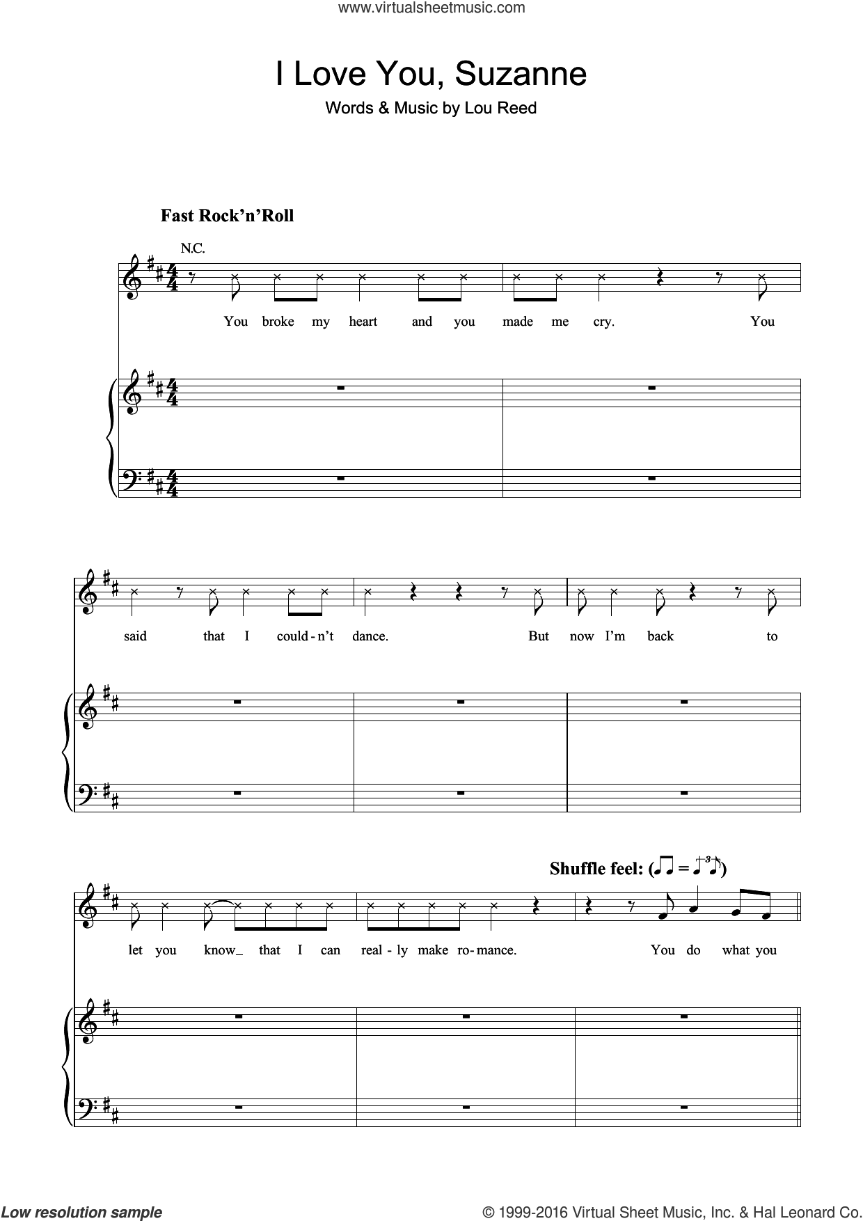 I Love You, Suzanne sheet music for violin solo by Lou Reed, intermediate skill level