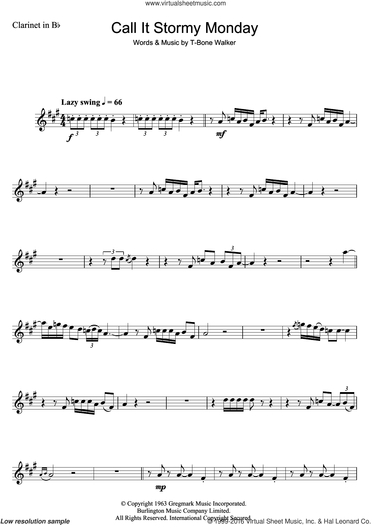 Call It Stormy Monday (But Tuesday Is Just As Bad) sheet music for clarinet solo by Aaron
