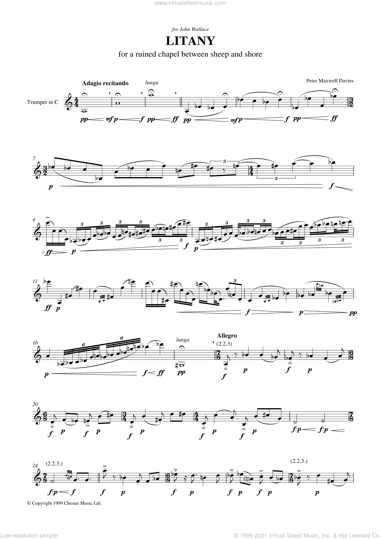 Litany For A Ruined Chapel Between Sheep And Shore sheet music for trumpet solo by Peter Maxwell Davies, classical score, intermediate skill level