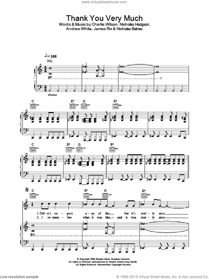 Thank You Very Much sheet music for voice, piano or guitar by Kaiser Chiefs and Charlie Wilson, intermediate. Score Image Preview.