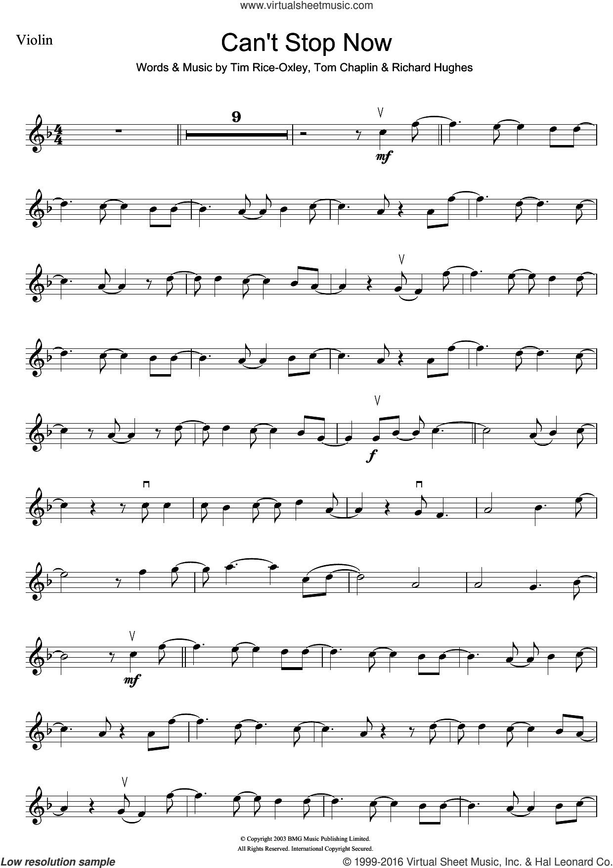 Can't Stop Now sheet music for violin solo by Tim Rice-Oxley, Richard Hughes and Tom Chaplin, intermediate. Score Image Preview.