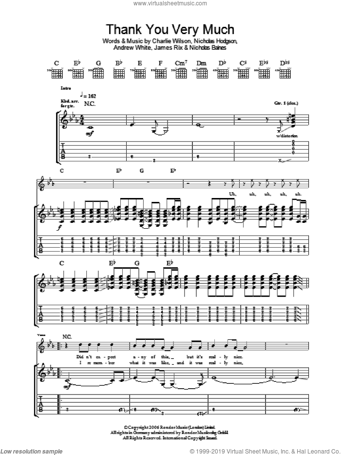 Thank You Very Much sheet music for guitar (tablature) by Kaiser Chiefs and Charlie Wilson, intermediate. Score Image Preview.