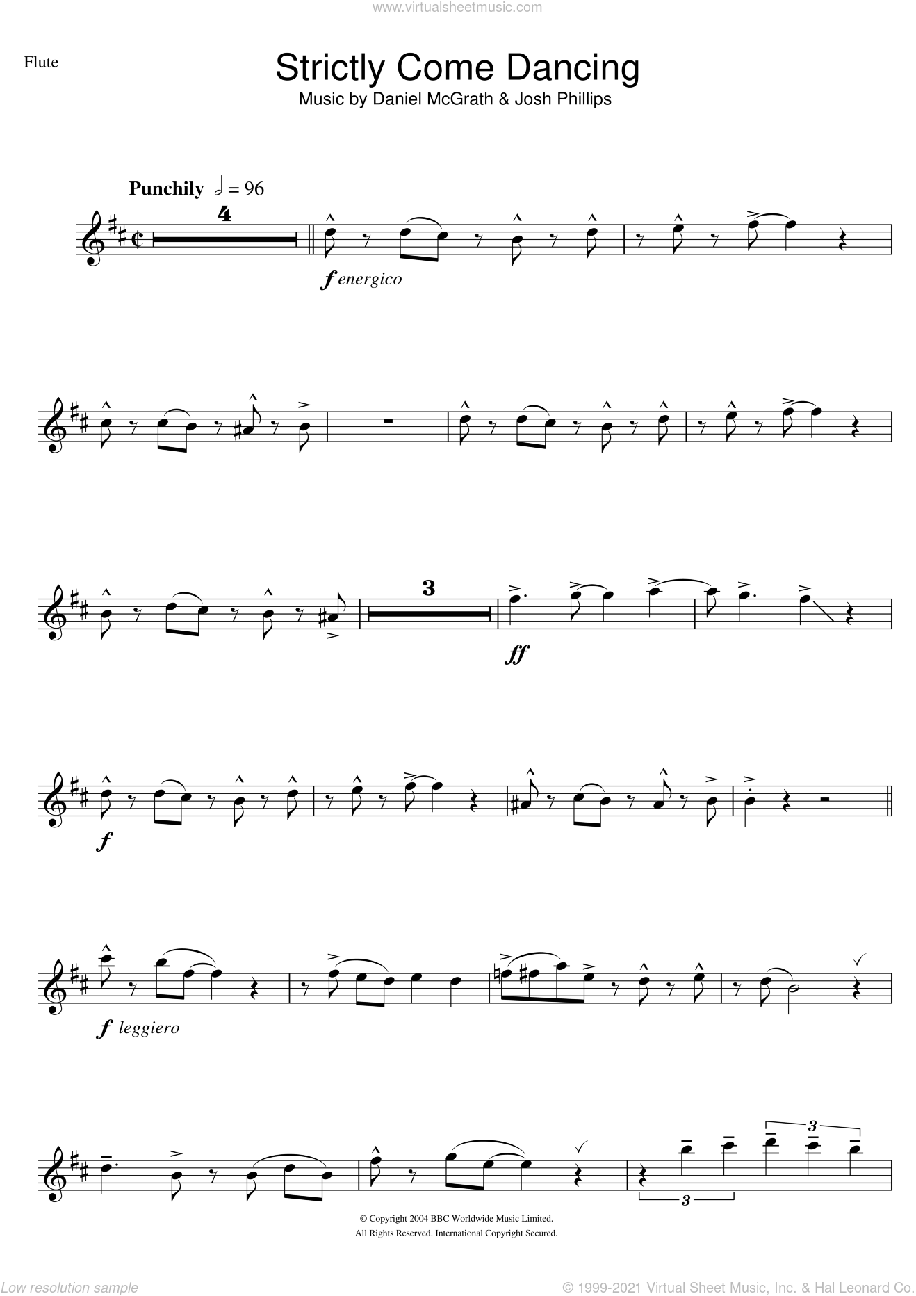 Strictly Come Dancing sheet music for flute solo by Daniel McGrath. Score Image Preview.