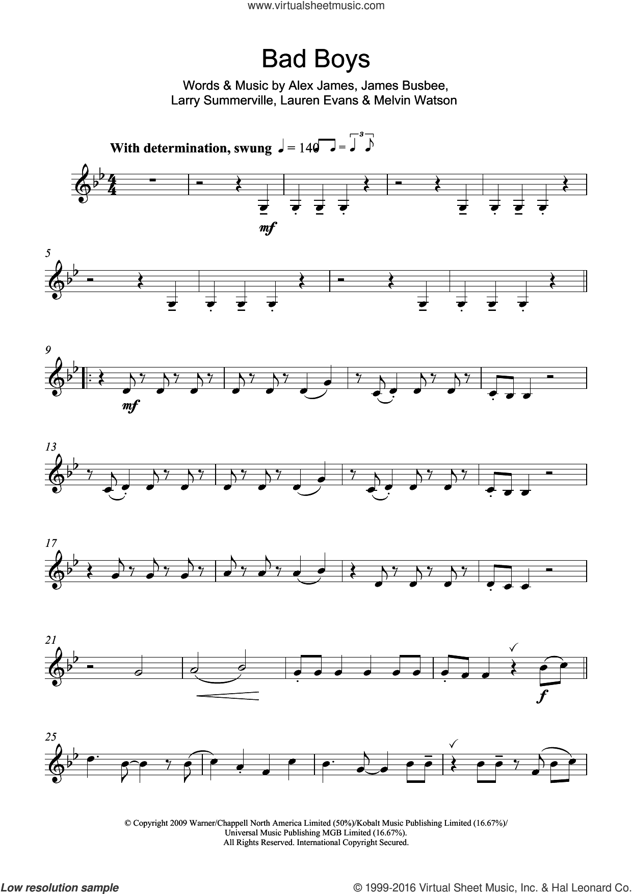 Bad Boys sheet music for clarinet solo by Alexandra Burke, Alex James, James Busbee, Larry Summerville, Lauren Evans and Melvin Watson, intermediate skill level
