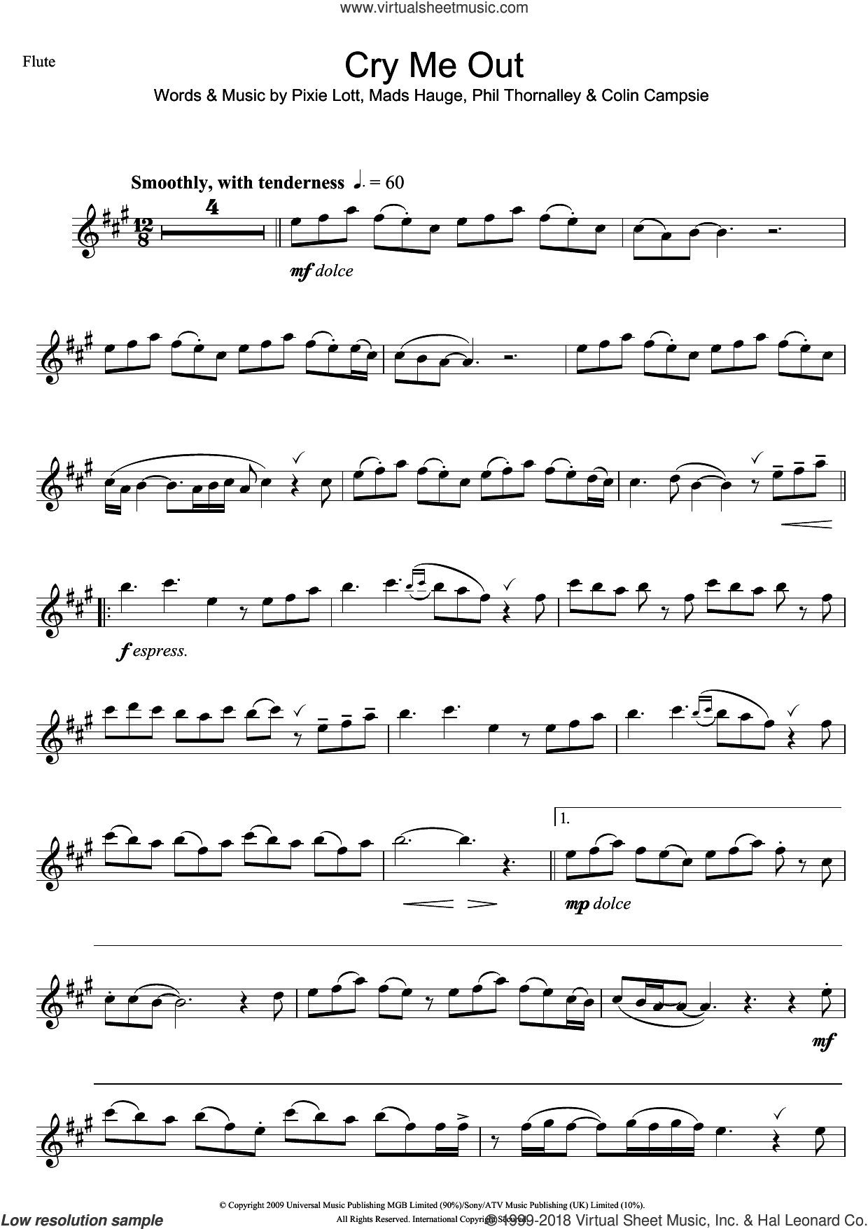 Cry Me Out sheet music for flute solo by Pixie Lott, Colin Campsie, Mads Hauge and Phil Thornalley, intermediate skill level