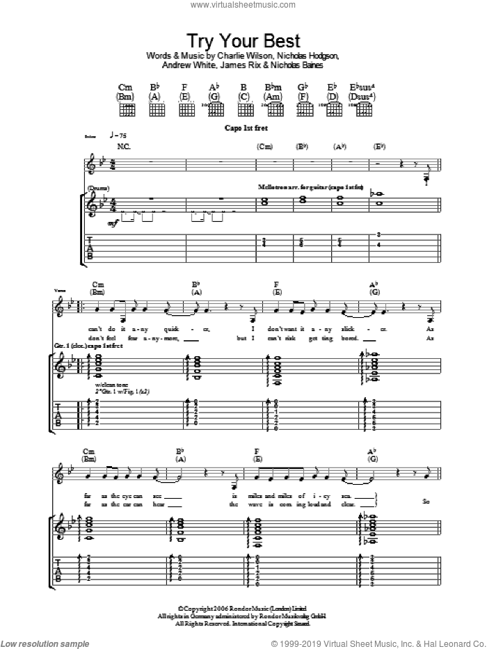 Try Your Best sheet music for guitar (tablature) by Kaiser Chiefs and Charlie Wilson. Score Image Preview.