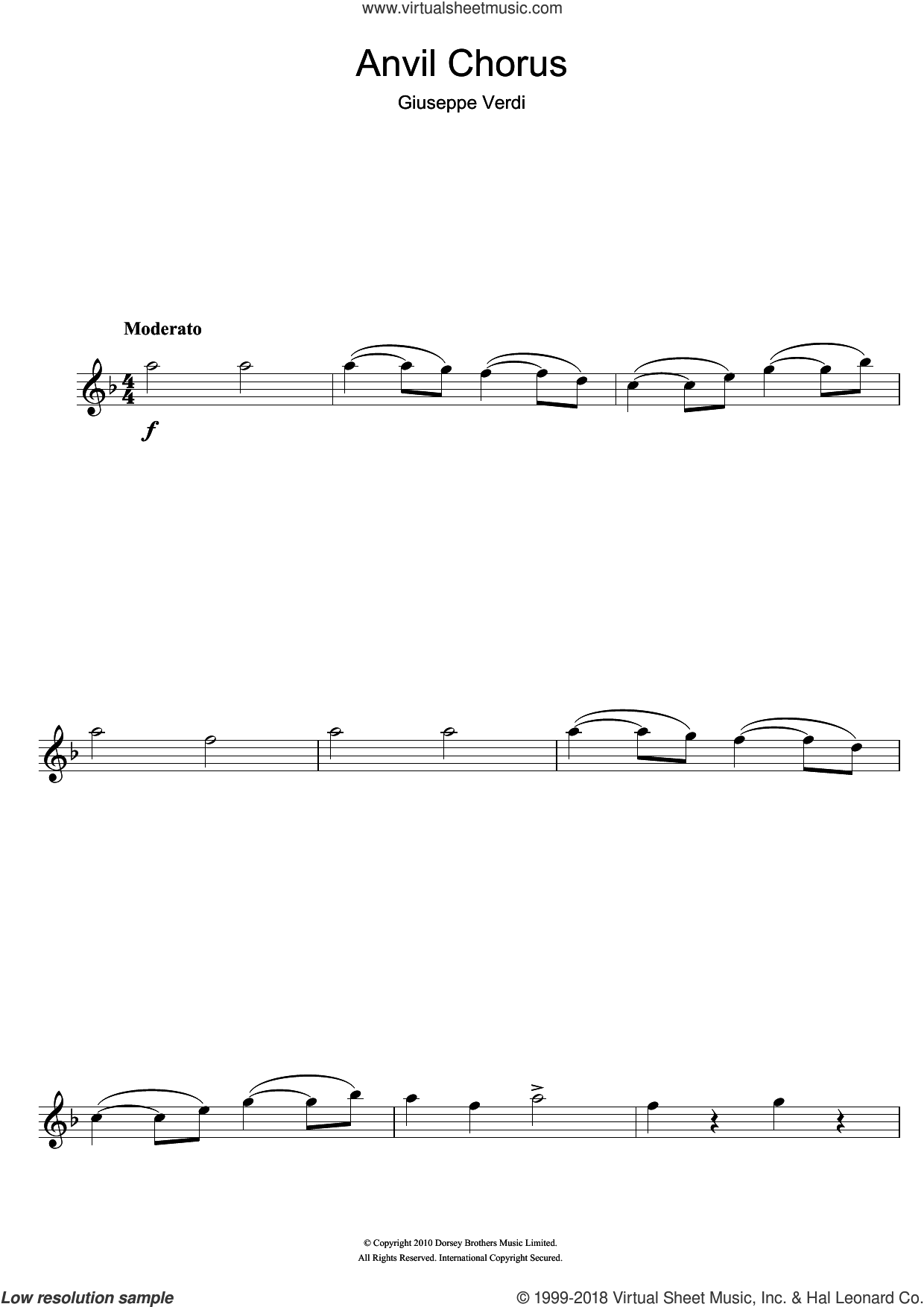 Anvil Chorus (from Il Trovatore) sheet music for flute solo by Giuseppe Verdi, classical score, intermediate skill level