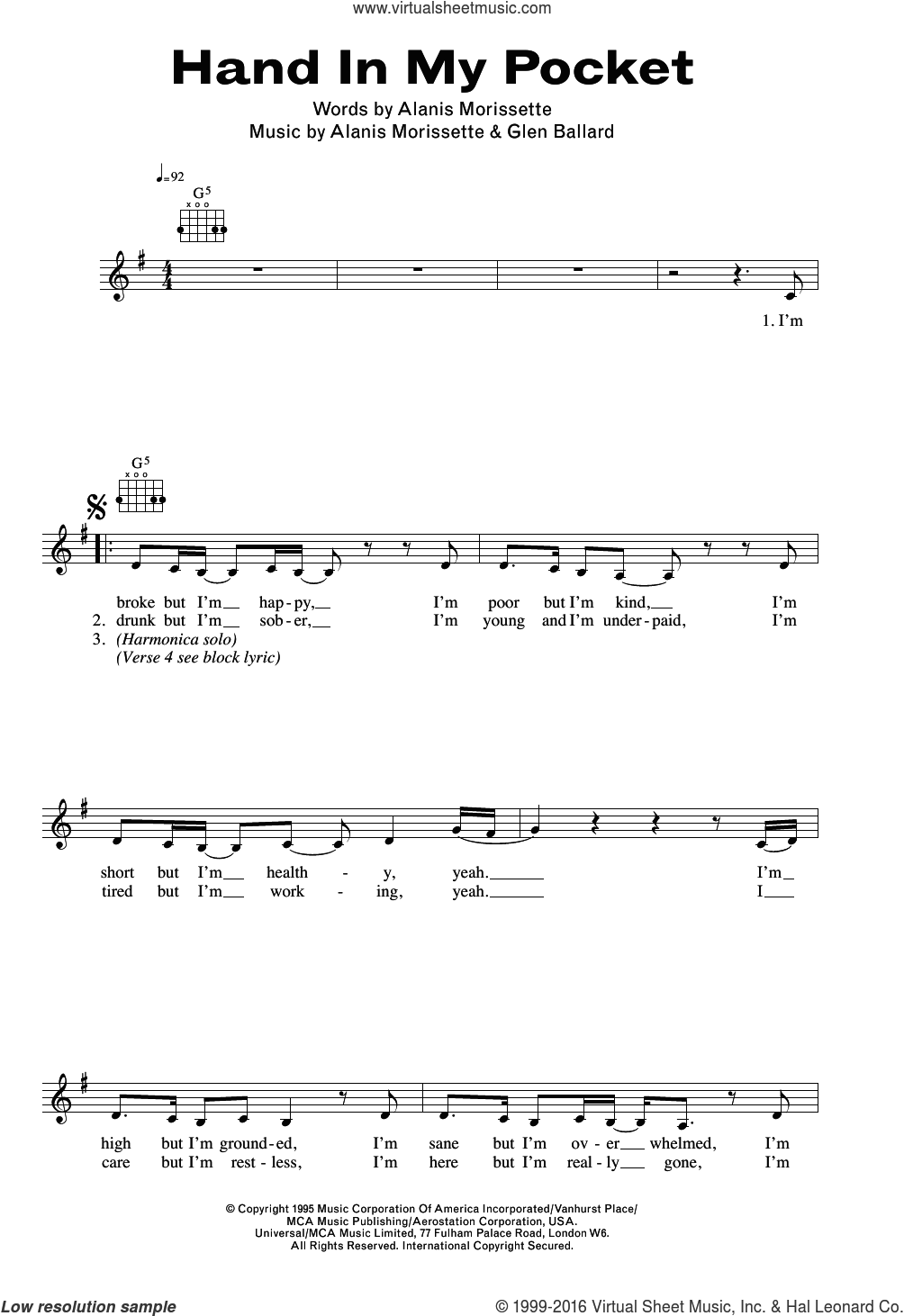 Hand In My Pocket sheet music for voice and other instruments (fake book) by Alanis Morissette and Glen Ballard, intermediate