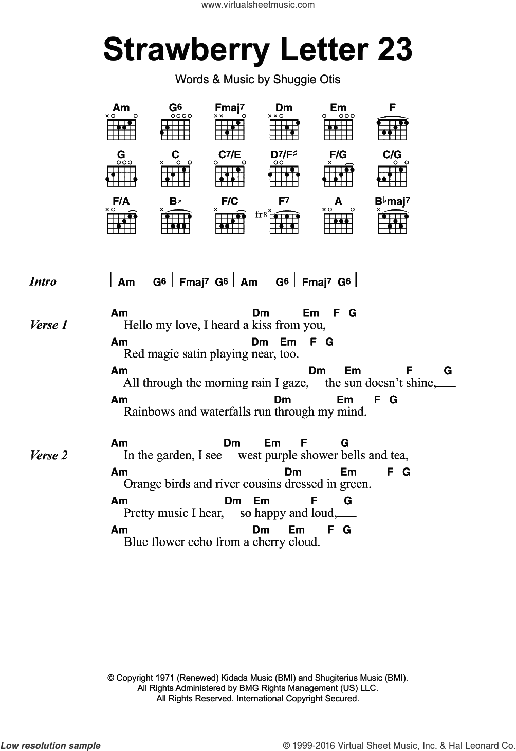 Strawberry Letter 23 sheet music for guitar (chords) by The Brothers Johnson and Shuggie Otis. Score Image Preview.
