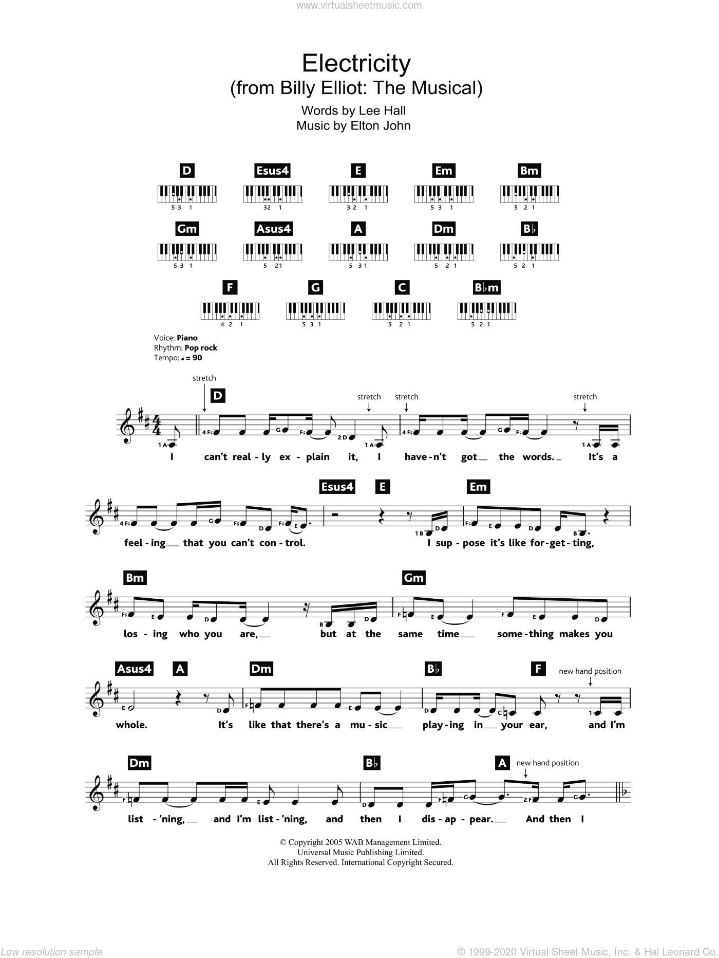 Electricity (from Billy Elliot: The Musical) sheet music for piano solo (chords, lyrics, melody) by Elton John and Lee Hall, intermediate piano (chords, lyrics, melody)
