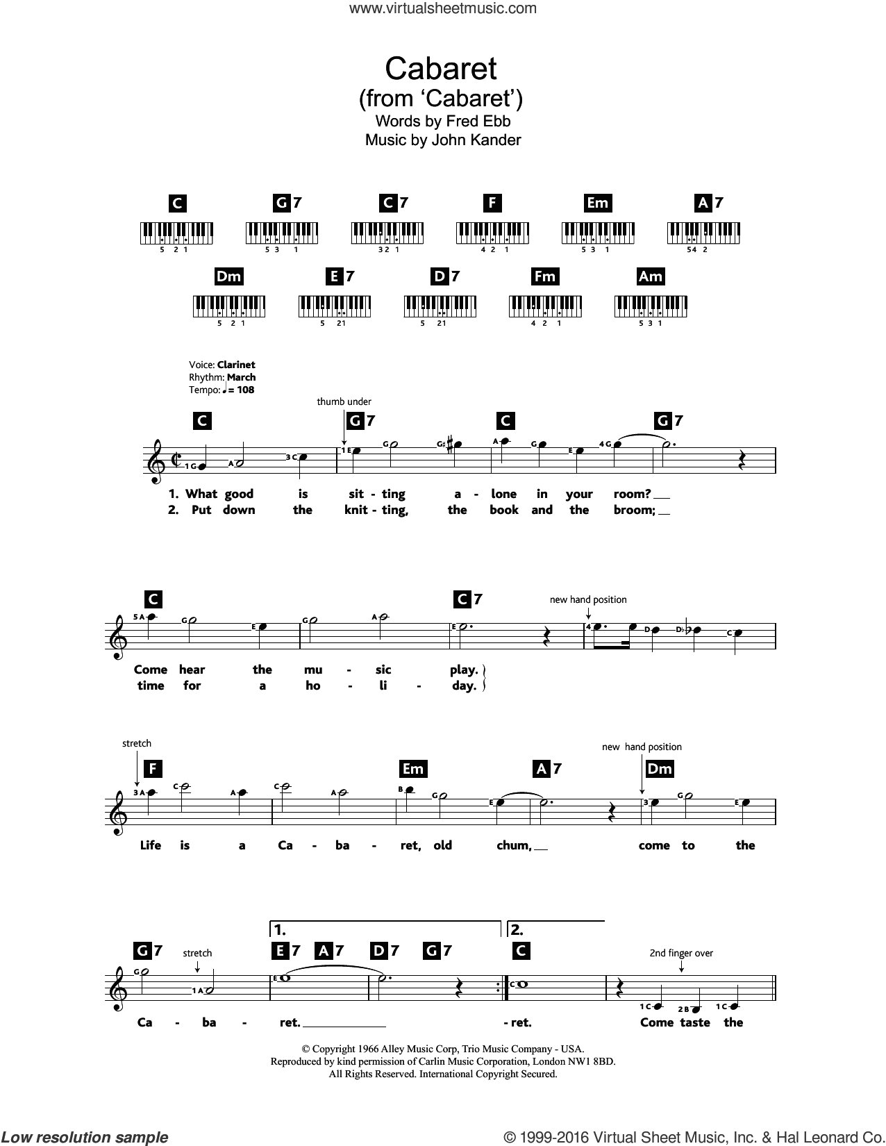 Cabaret sheet music for piano solo (chords, lyrics, melody) by Kander & Ebb, Fred Ebb and John Kander, intermediate piano (chords, lyrics, melody). Score Image Preview.
